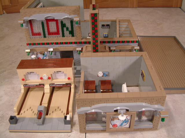 Custom lego modular bowling alley. Lego bowling alley with two lego bowling lanes.