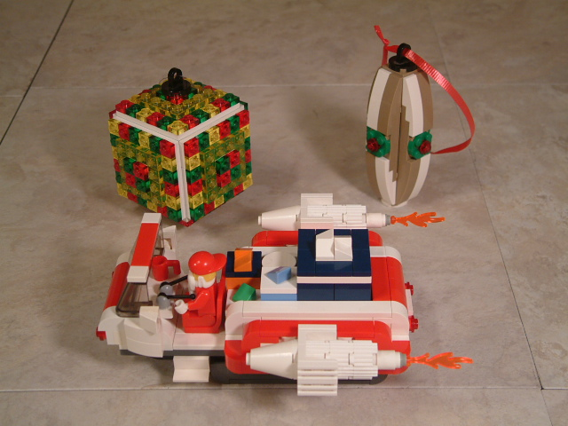 Lego christmas decoration, lego ornaments, lego santa's sled, lego christmas tree, custom lego christmas set