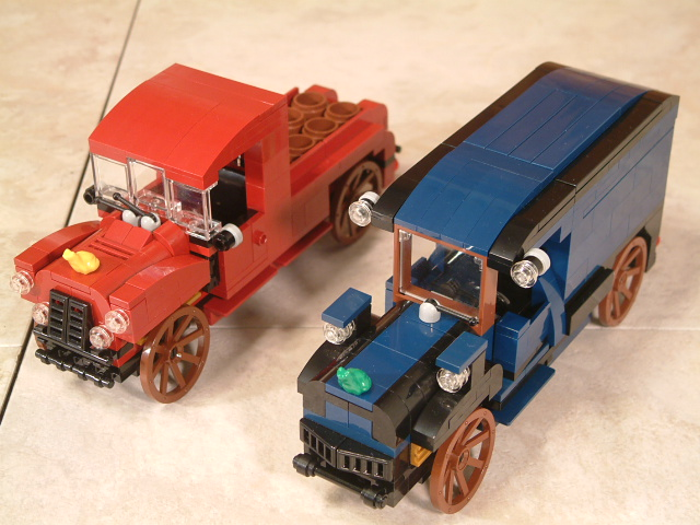 Custom Lego MOC classic trucks. Vintage classic lego trucks and vehicles.