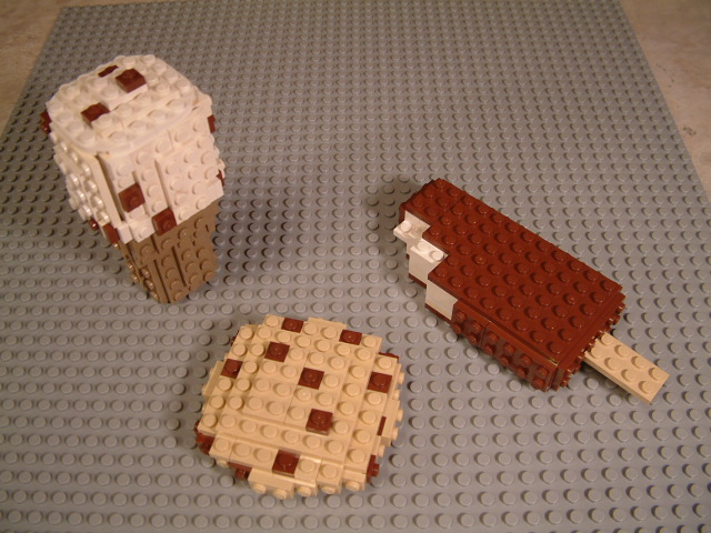 Custom lego ice cream bars, lego cookies, lego birthday cakes, lego desserts, lego snacks.