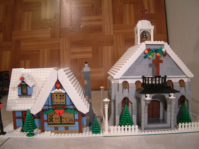 Custom Lego church, winter village lego church, lego kingdoms church, lego modular church