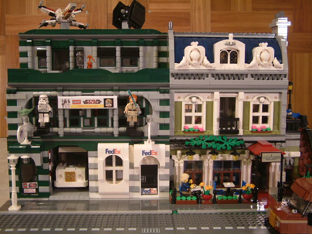 Custom moc Lego Fedex store, lego fedex shop, custom moc lego fedex, custom modular lego star wars shop, custom lego star wars store, lego moc star wars cantina.