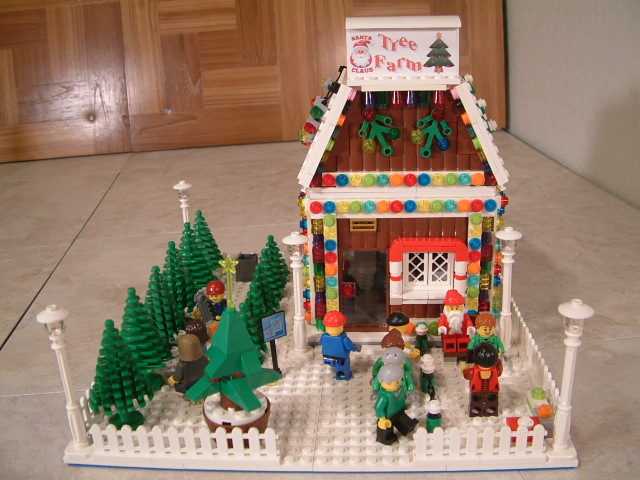 Custom Lego Winter Village Santa's Tree Farm - Modular Lego Winter Village Santa's Tree Farm - lego tree farm