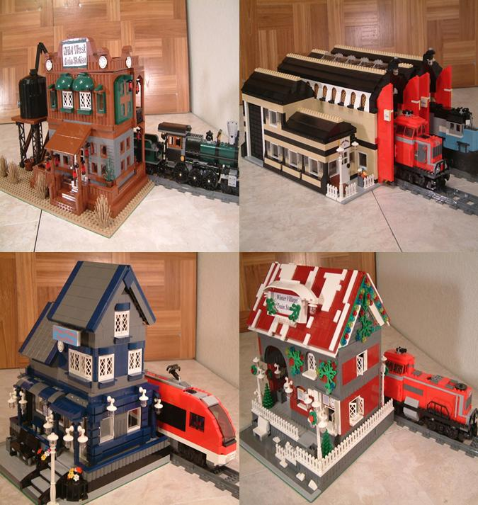 Modular Lego train stations - Custom Lego train stations