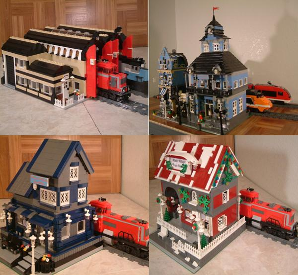 custom Lego train stations - modular Lego train stations